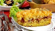 Фото рецепта Запеканка из макарон с сосисками