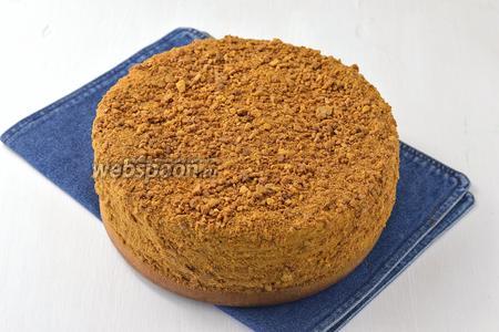 Верх и бока торта оформить кремом и обсыпать крошкой из остатков коржей. Торт должен постоять в холодильнике перед подачей минимум 12 часов.