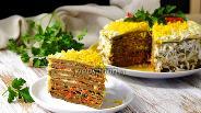 Фото рецепта Печёночный торт из говяжьей печени