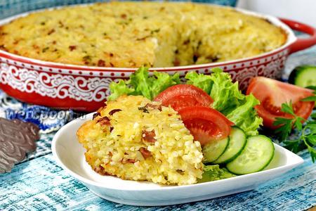 Фото рецепта Рисовая запеканка с ветчиной и сыром