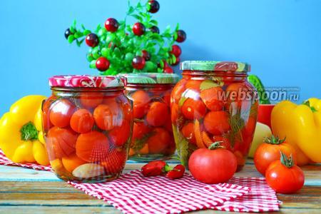 Маринованные помидоры черри с болгарским перцем и ботвой на зиму