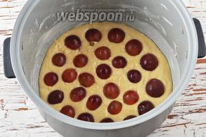 Ягоды винограда (50 г) вымыть, разрезать пополам. Вынуть острым ножом косточки. Разложить ягоды сверху на тесто срезом вниз.