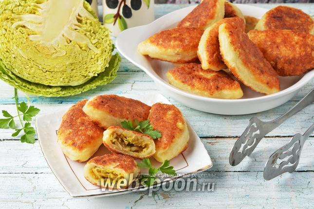 Фото Творожные пирожки с капустой жареные