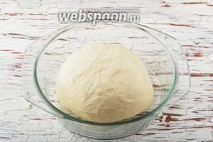 Вмешать просеянную муку (500 г) и замесить тесто. Выложить тесто в миску. Накрыть полотенцем и оставить на 45 минут в тёплом месте.