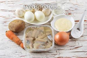 Для работы нам понадобится сельдь готовая, яйца, шампиньоны, морковь, лук, картофель, майонез, чёрный молотый перец, соль, подсолнечное масло.