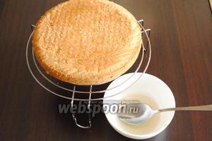 Готовое тесто выложить в форму, смазанную маслом, и выпекать при температуре 180°С 40 минут. Остудить бисквит на решётке. Пропитать сиропом, приготовленным из воды (6 ст. л.) и ванильного сахара (4 ст. л.) и сока половинки лимона.