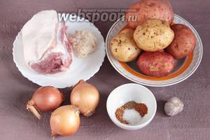 Основные ингредиенты, которые потребуются для приготовления картофельной колбасы: картофель, свиная мякоть, лук репчатый, чеснок, молотые кориандр, орех мускатный и смесь перцев, соль и свиные кишки.