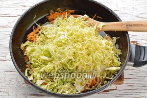 Капусту очень мелко нашинковать (воспользуйтесь для этого специальной тёркой). Соединить капусту (350 г) с солью (0,75 ч. л.) и помять. Отправить подготовленную капусту в сковороду. Перемешать. Готовить 3-4 минуты.