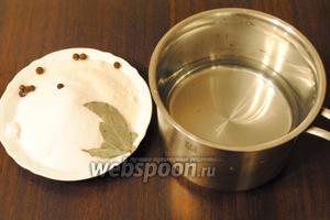 Вскипятить 1 литр воды, добавив 5 столовых ложек соли и 4 столовых ложки сахара. В маринад добавить 2 лавровых листа и перец душистый горошком (5 штук). Готовый маринад остудить.