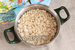 Белую сухую фасоль (400 г) промыть и замочить на часов 12, лучше на ночь. Набухшую фасоль залить чистой водой, довести до кипения и кипятить 5 минут.