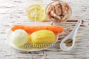 Для работы нам понадобится картофель, морковь, репчатый лук, подсолнечное масло, соль, свинина тушёная в консервах, лавровый лист, вода.