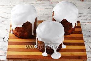 Тёплые куличи можно сразу покрыть сахарной глазурью с желатином.