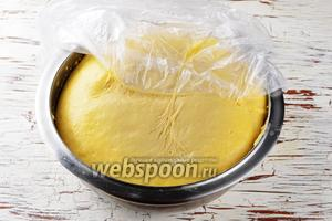 Накрыть миску пищевой плёнкой и отправить в холодильник на 1 час. За это время тесто сильно подрастёт. Оно очень нежное и очень липкое.
