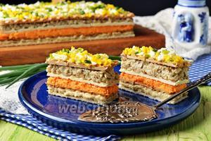 Селёдочный торт на вафельных коржах