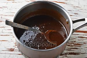 Довести до кипения и готовить 1-3 минуты до желаемой густоты (чем дольше варить глазурь, тем гуще она получится в результате). Снять с огня и охладить до 50-60°С.