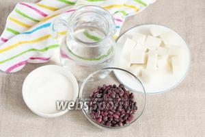 Для приготовления японского супа сируко потребуются следующие ингредиенты: фасоль красная сухая, сахарный песок, моти и вода питьевая.
