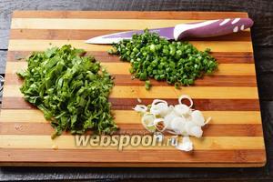 Зелень лука, ботву редиса, а также молодые луковички мелко нашинковать.