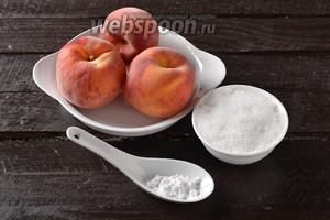Для работы нам понадобятся персики, картофельный крахмал, сахар.