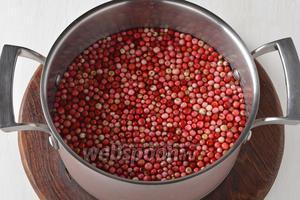 Бруснику перебрать, удалить листья, испорченные и помятые ягоды. Промыть. Дать стечь воде.