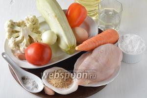 Для работы нам понадобится куриное филе, морковь, кабачок, перец сладкий, помидоры, цветная капуста, репчатый лук, яйцо, вода, подсолнечное масло, сухари, чеснок, пшеничная мука, соль, чёрный молотый перец.