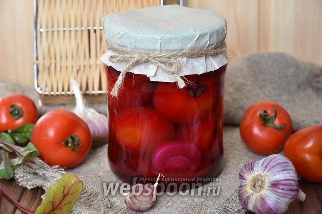 Фото Маринованные помидоры с яблоком и свёклой