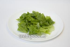 В каждую тарелку выкладываем по половине пучка салата.