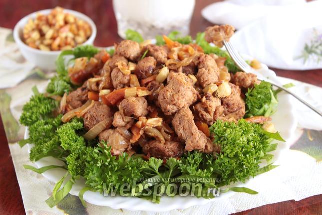 Фото Тушёное соевое мясо в соевом соусе