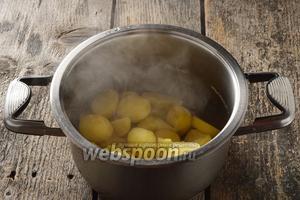 Предварительно приготовить начинку. Для этого очищенный картофель 700 г отварить до готовности с добавлением соли 1 ч. л. Воду слить.