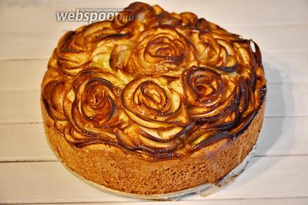 Выпекать пирог в разогретой до 180°С духовке около 1 часа. При подаче пирог можно посыпать сахарной пудрой и украсить листиками мяты.