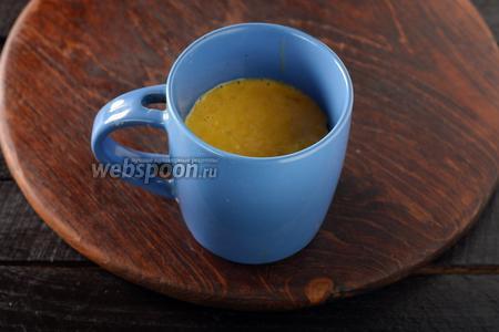 Переложить тесто в чашку (в работе мы замешиваем тесто прямо в чашке).