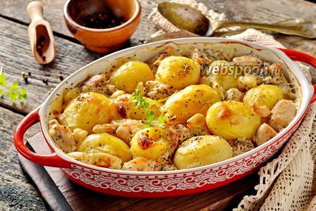 Картошка запечённая с мясом в молоке в духовке