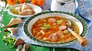 Фото рецепта Суп с фасолью и сосисками