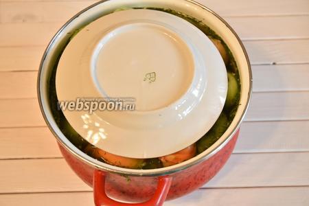 Сверху помидоры накрыть подходящего диаметра тарелкой, чтобы они были полностью погружены в рассол.