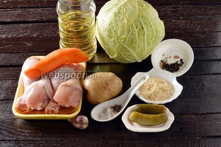 Для работы нам понадобятся куриные голени, картофель, морковь, репчатый лук, капуста, чеснок, крупа пшенная, перец чёрный горошком, перец душистый горошком, соль, чёрный молотый перец, солёные огурцы.