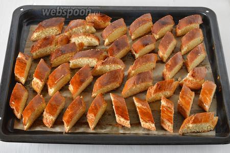 Вынуть из духовки, быстро нарезать жгуты на ломтики толщиной 1,5-2 сантиметра (лучше наискосок). Вернуть противень с ломтиками в духовку и готовить ещё 5-7 минут до полного зарумянивания. Выключить духовку, а печенье оставить в ней ещё на 5-15 минут.