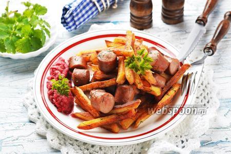 Жареная картошка с сосисками на сковороде видео рецепт