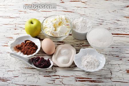 Для работы нам понадобится пшеничная мука, какао, разрыхлитель, яйца, сахар, ванильный сахар, повидло, порошок ванильного пудинга.