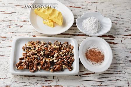 Для работы нам понадобится сливочное масло, грецкие орехи, специи для пряников, сахарная пудра.