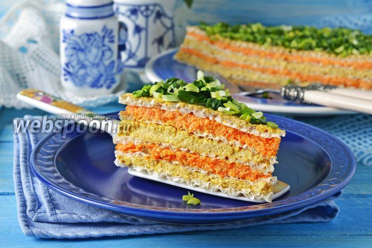 Фото Вафельный торт с консервами
