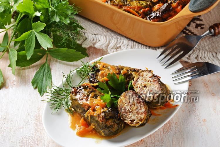Фото Голубцы с мясом и гречкой в томатно-сметанном соусе