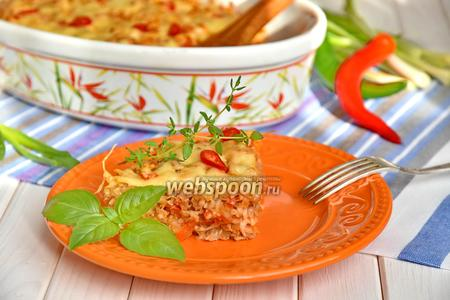 Фото рецепта Запеканка из фарша, капусты и риса