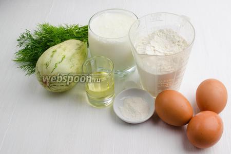 Чтобы приготовить тонкие блинчики, нужно взять яйца, соль, сахар, масло подсолнечное, муку, разрыхлитель, кефир, кабачок, укроп.