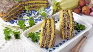 Фото рецепта Кабачковый торт с грибами