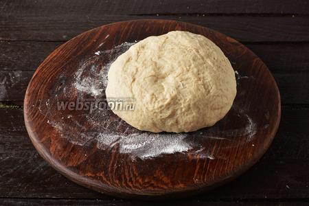 Хорошо замешанное тесто накрыть слегка влажным полотенцем и оставить в тёплом месте на 1 час и 30 минут.