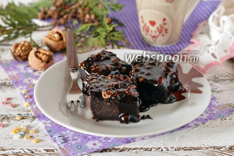 Фото Шоколадный пирог с шоколадной заливкой