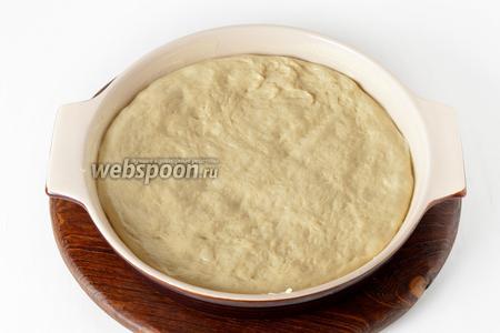 Форму диаметром 28 сантиметров щедро смазать сливочным маслом (1 ст. л.). Выложить тесто в форму, разровнять, накрыть полотенцем и оставить в тёплом месте на 30 минут.