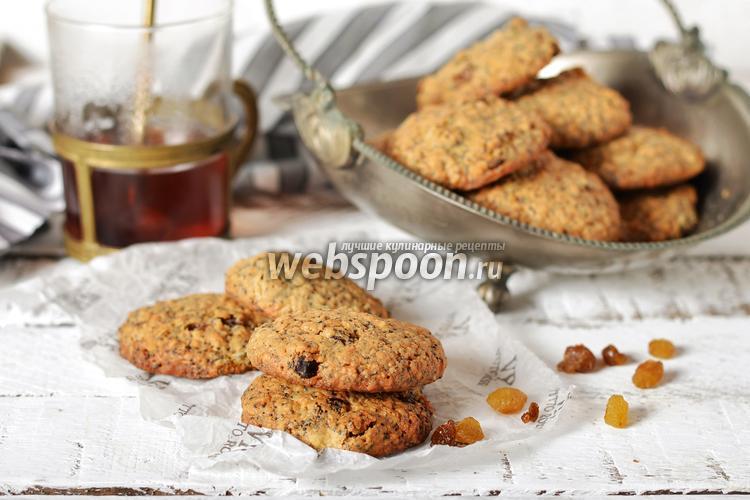 Фото Сливочное овсяное печенье с изюмом