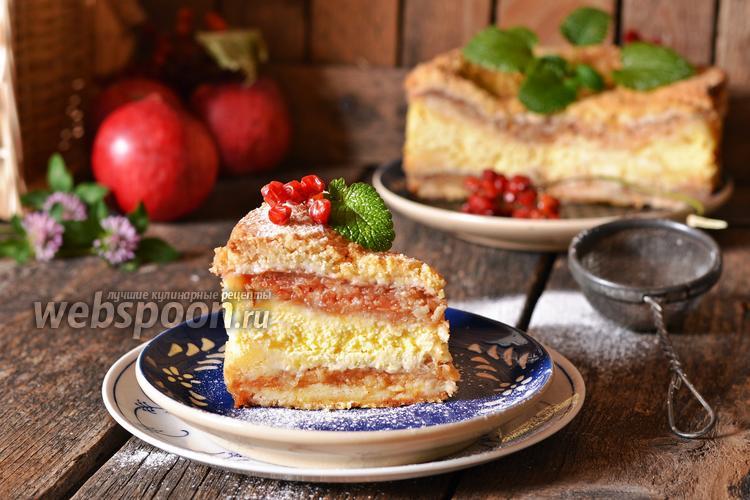 Фото Насыпной пирог с творогом и яблоками