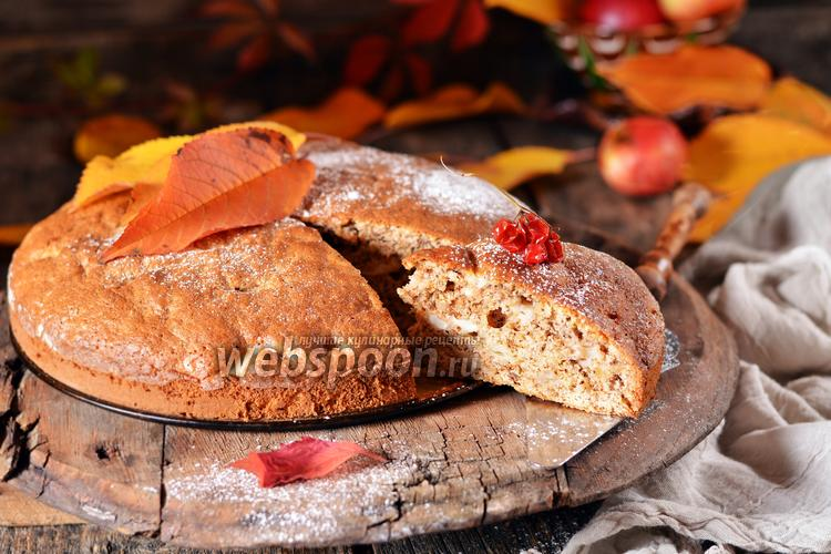 Фото Шарлотка с яблоками и орехами