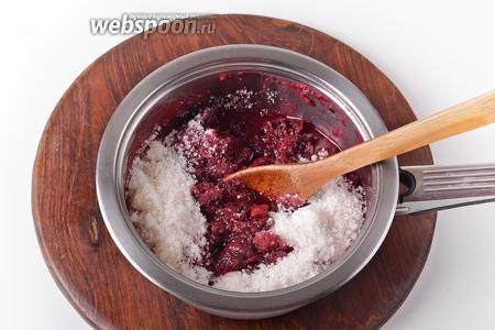 Соединить мякоть и 600 грамм сахара.